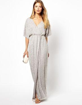 Sequin Wrapper Dress Wedding Guest Idea Fashion Maxi Wrap