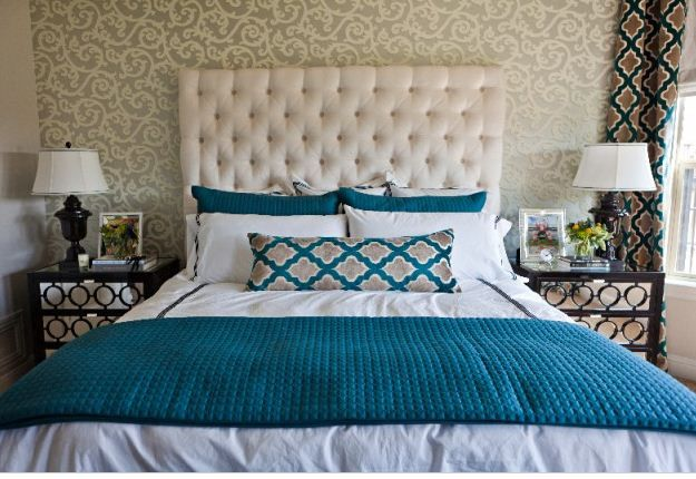 Deep turquoise with wallpaper accent wall Teal home
