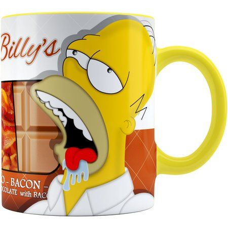Caneca Chocolate Os Simpsons Farmer Billys Homer Alça Amarela