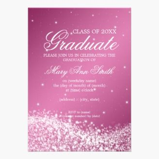 Elegant Graduation Party design with Sparkling Wave on Pink background, and custom name and details text. Impress your family and friends with this stylish and modern design. Fully customizable