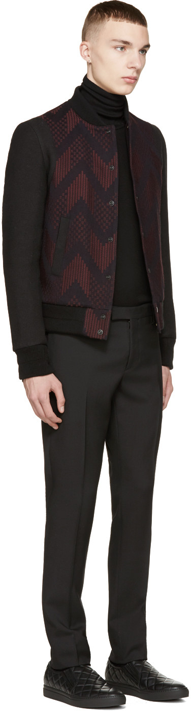 Balmain Red & Black Teddy Bomber Jacket