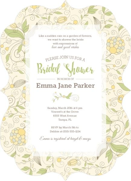 Whimsical yellow floral bridal shower invitation shower ideas whimsical yellow floral bridal shower invitation filmwisefo