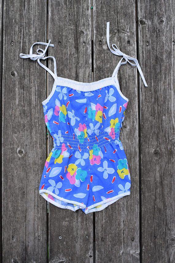 c97d2d31ee9 Vintage 80s Girls Floral Print Shoulder Tie Romper Size 4
