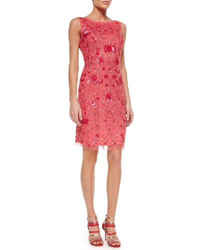 TA08G Badgley Mischka Sleeveless Beaded Embroidered Sheath Dress