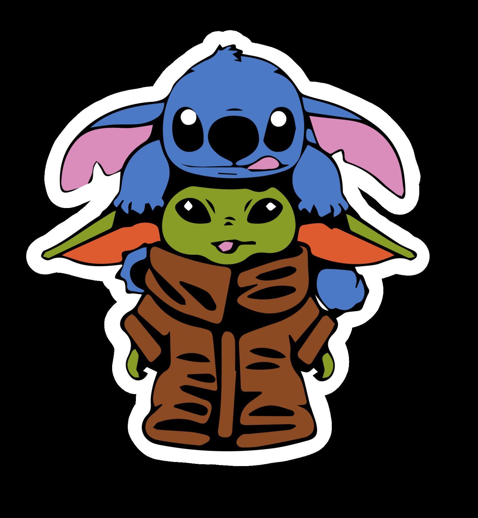 Baby Yoda And Stitch Inspired Disney Vinyl Waterproof Sticker Birthdaygifts Bumperstickers Babyyodas Cute Cartoon Drawings Yoda Sticker Cute Disney Drawings
