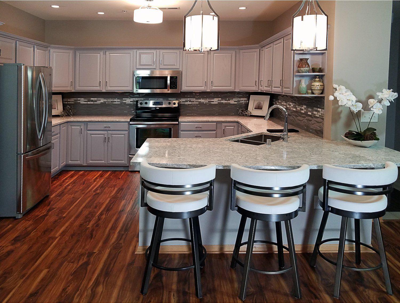 Grey cabinets with Cambria Quartz countertops | Kitchen ...
