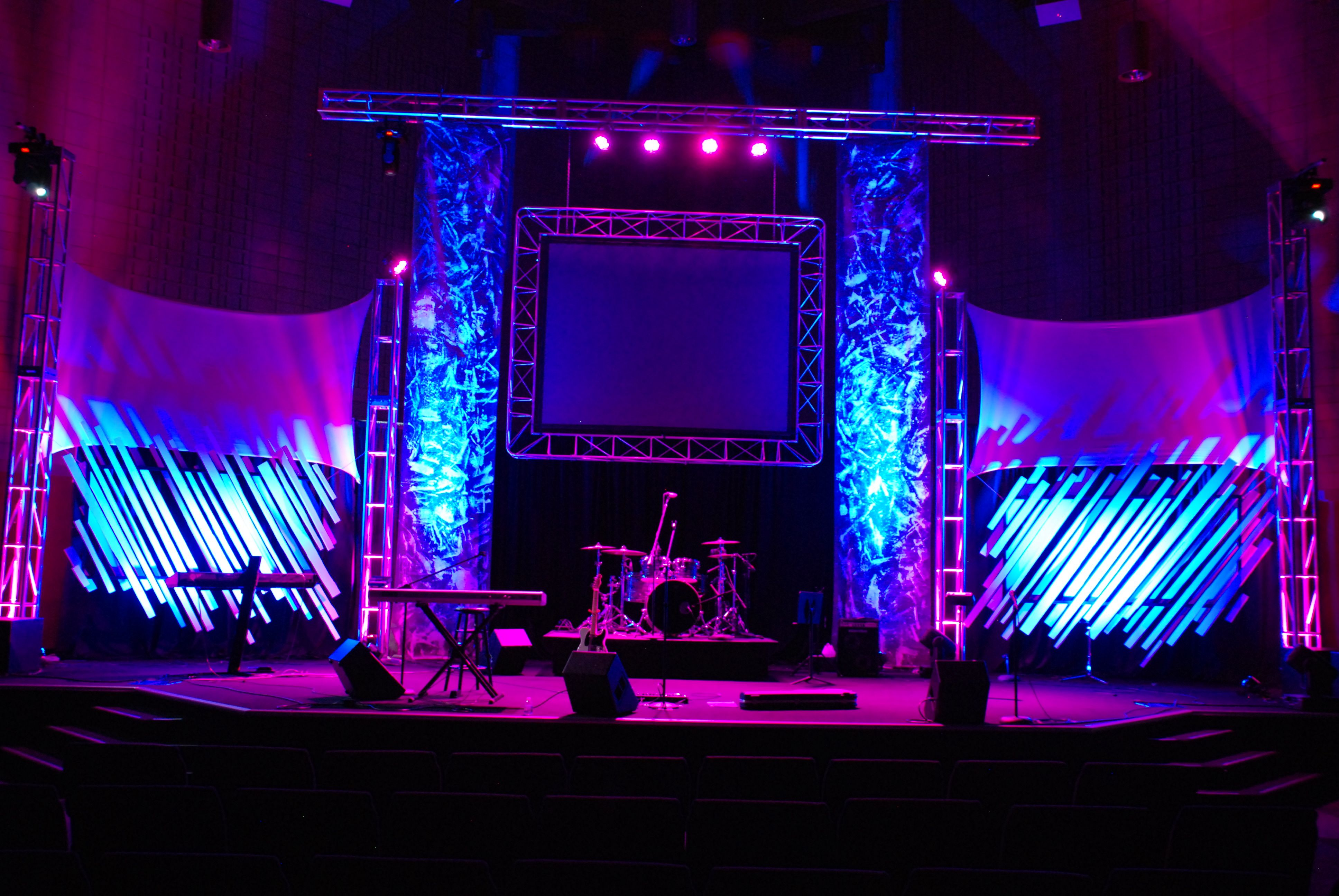 Throwback towers and angles church stage design stage