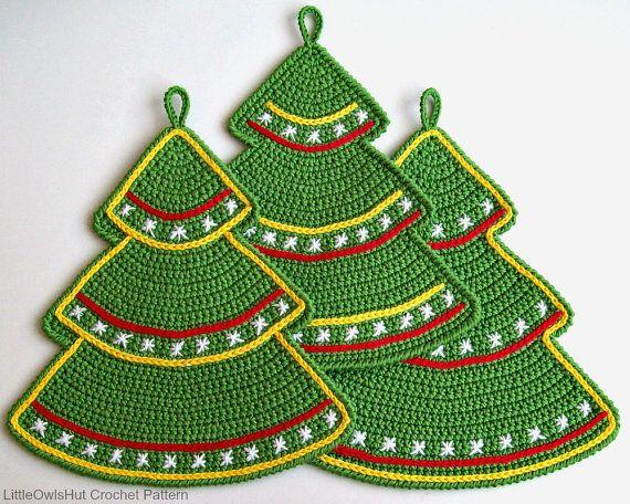 087 Crochet Pattern Christmas tree decor potholder
