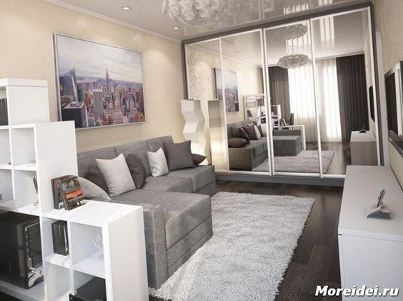 Однокомнатная квартира с нишей Ремонт Pinterest Dormitorio y - departamento de soltero moderno pequeo