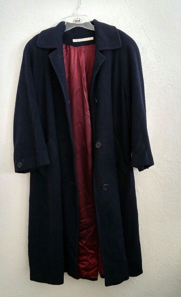 a5ad4f42ae Vintage Perry Ellis 100% Cashmere Navy Blue Trench Coat Women s 2 Long  Heavy  PerryEllis  Trench