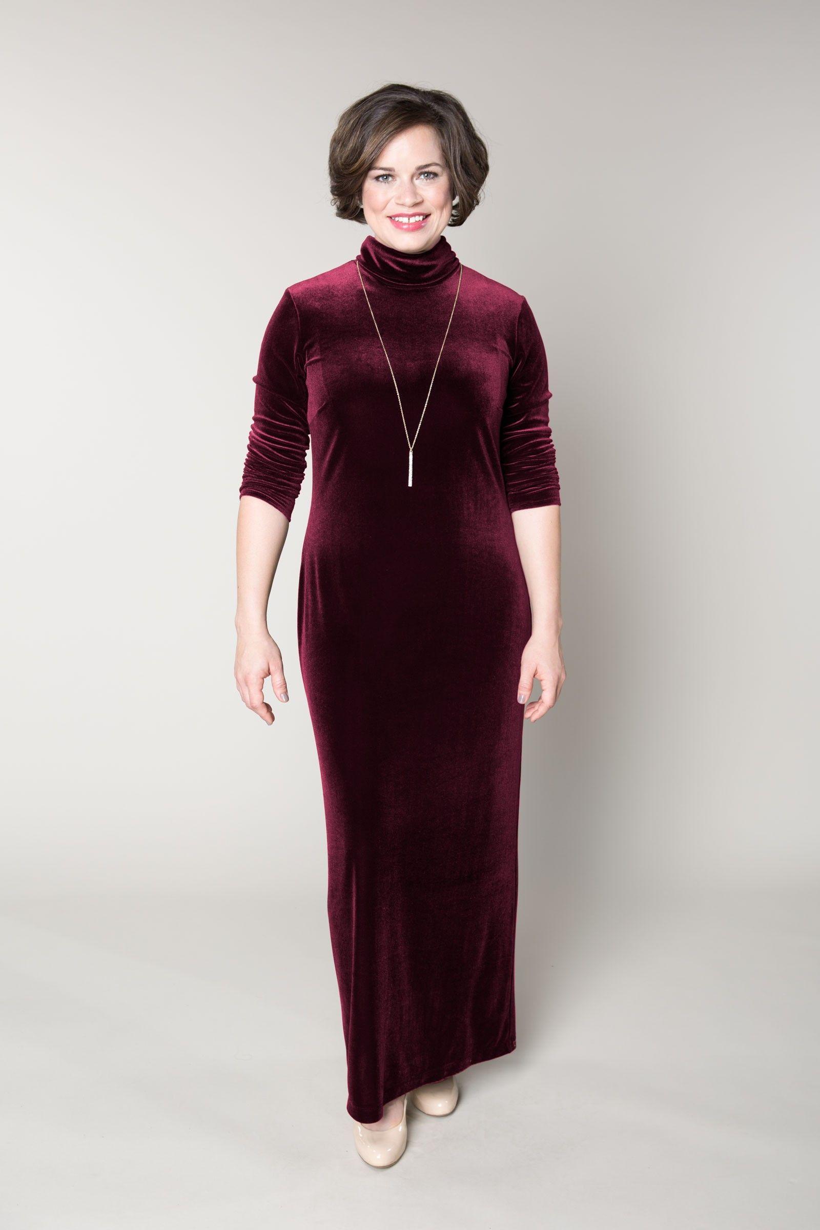 Custom Plus Size Stretch Velvet Shift Dress For Plus Size