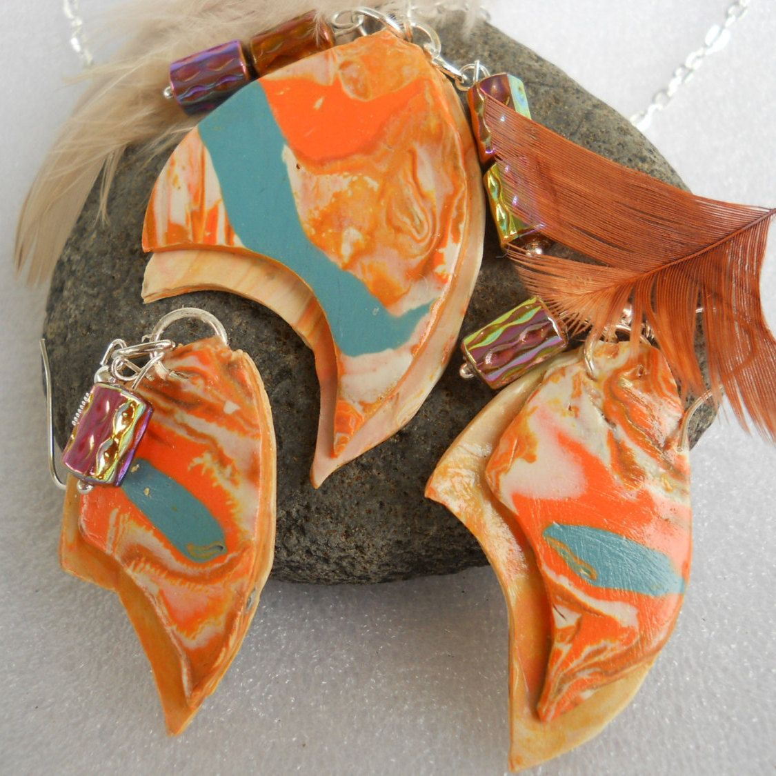 Jeweled Land Is a  colorful pendant and earring set .The beautiful pattern is created by the Makuma Gane method of layering clay colors by Carrolcreates4u on Etsy