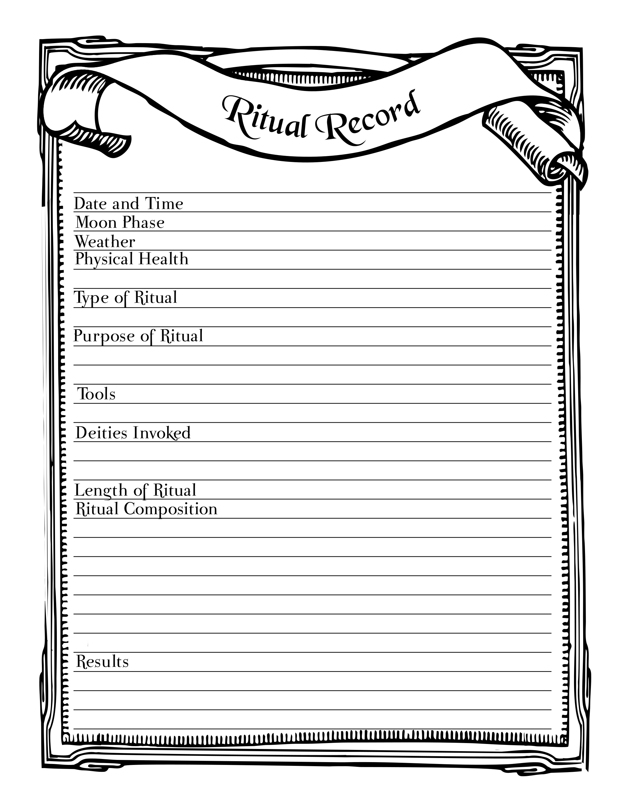 Ritual Record Printable Stationary Page Book Of Shadows