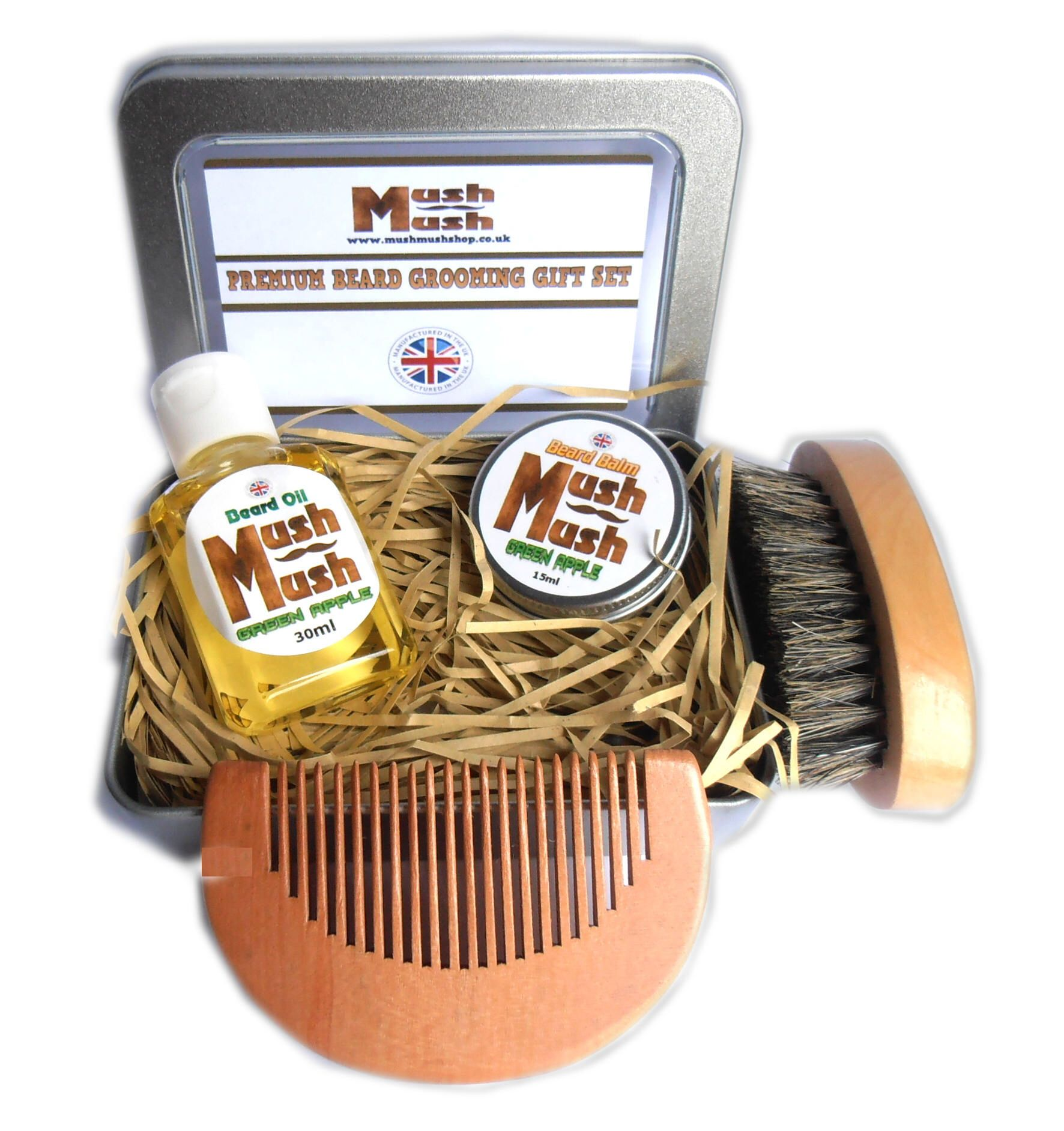 Beard Grooming Gift Set, Beard Oil, Balm, Beard Brush and