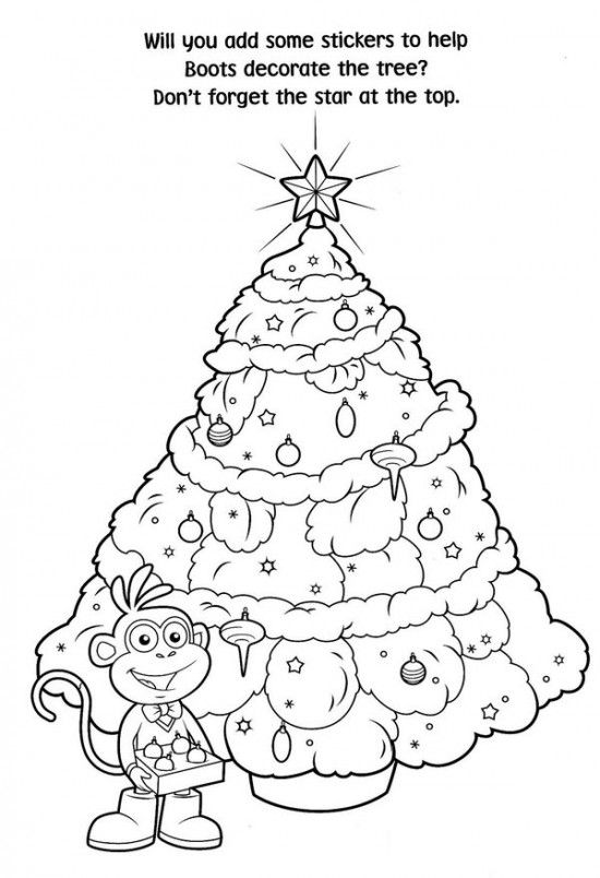 Free Printable Dora Christmas Tree Coloring Pages Picture