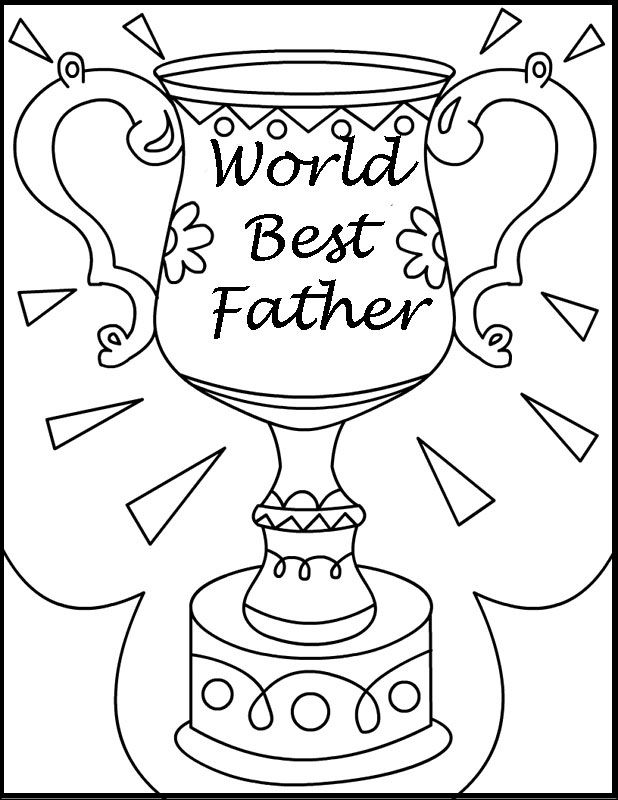 World Best Father Day Cup coloring picture for kids