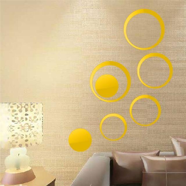 Circles 3D Wall Mirror Stickers Vinyl Wall Sticker DIY ...