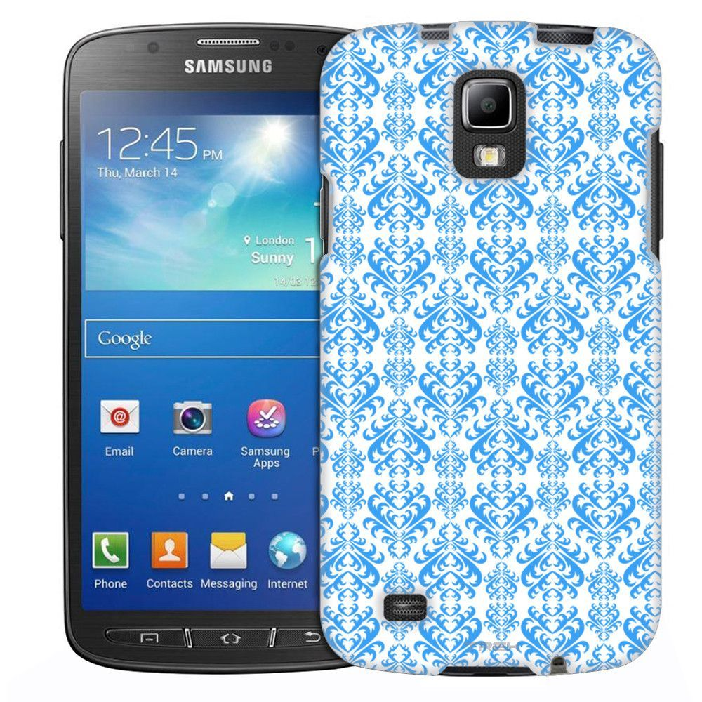 Samsung Galaxy S4 Active Victorian Damasks Blue on Black Slim Case