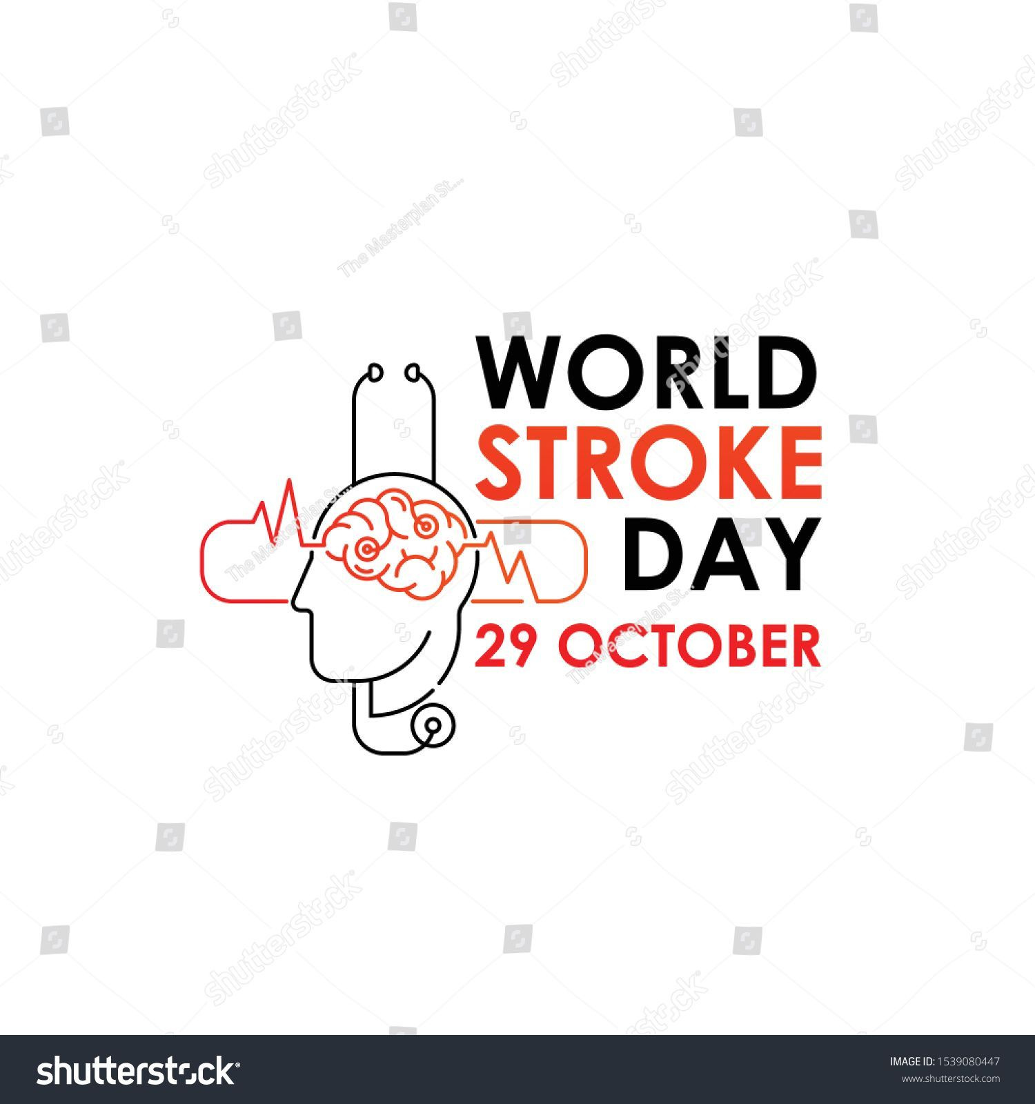 World Stroke Day Vector Logo Poster Illustration Des Weltschlags Am Oktobe World Stroke Day Vector Logo Poster