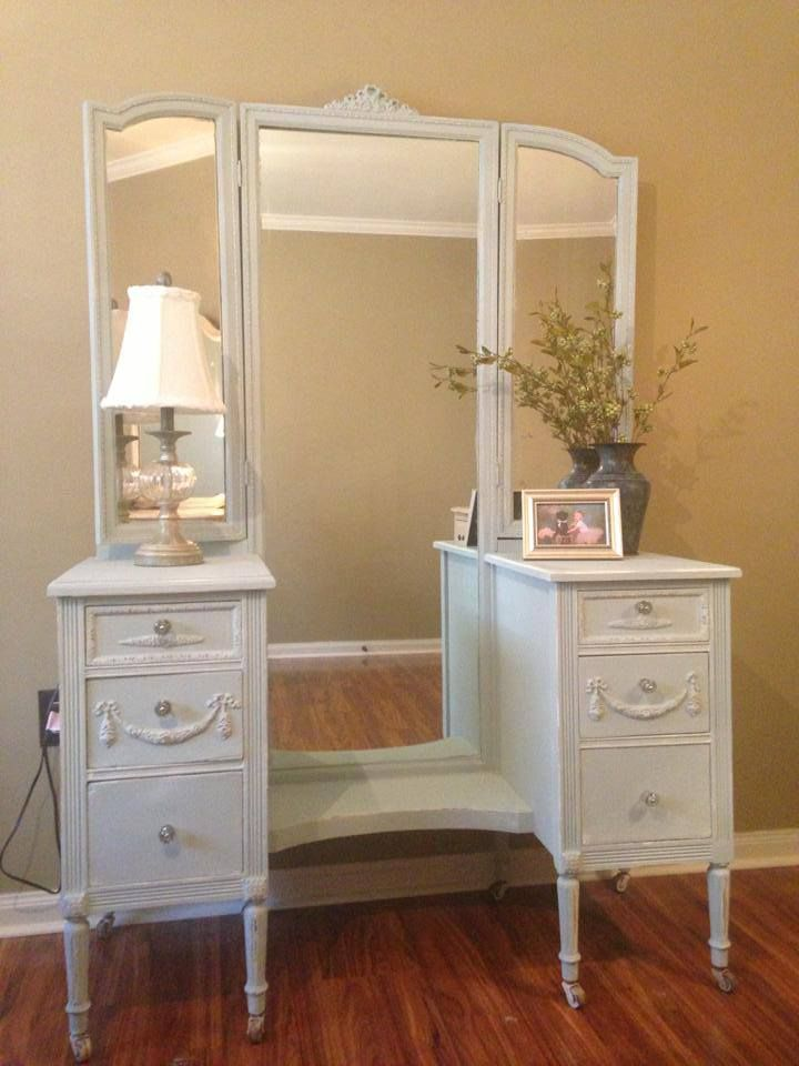 antique vanity painted in a light blue chalk paint and lightly distressed - Antique Vanity Painted In A Light Blue Chalk Paint And Lightly