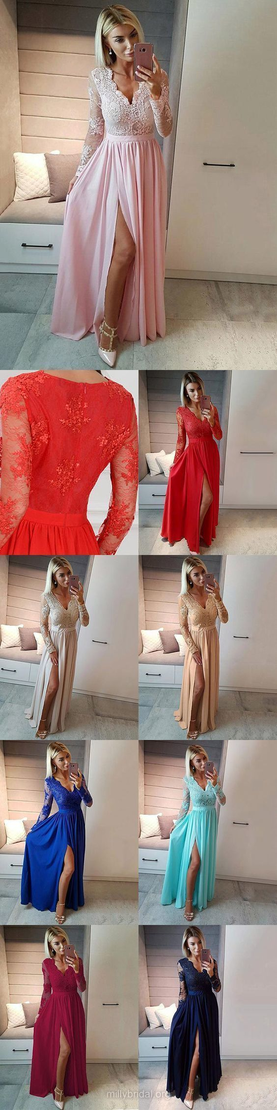 Prom Dress Ball Gown, A-line Prom Dresses V-neck, Chiffon Prom Dresses Tulle Appliques, Modest Prom Dresses For Teens #modestprom
