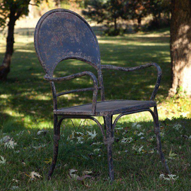 Distressed Black Patio Arm Chair