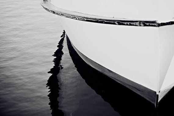 Nautical boat photograph boat photography 8x12 black and white fine art vintage boat art print nautical home decor reflection wall art