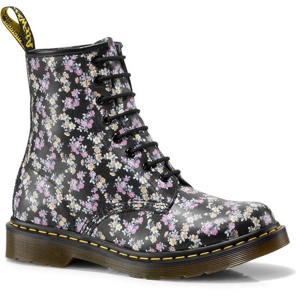 Dr. Martens Leather 1460 Tydee Boots ($68) ❤ liked on Polyvore featuring shoes, boots, black, long boots, real leather boots, long black boots, dr martens boots and flower print shoes