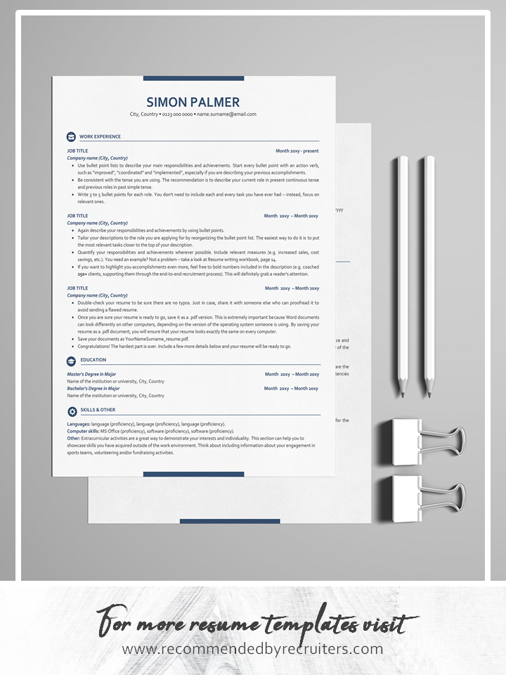 Executive Resume Template ATS friendly Resume with Icons