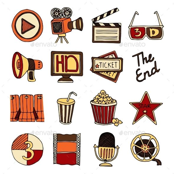 787bfcfe706f Vintage cinema filmmaking studio and movie theater color icons set ...