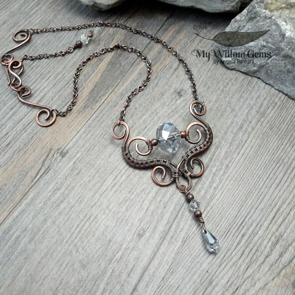 Wire Wrapped Elven Swarovski & Copper Necklace by MyWillowGems ...