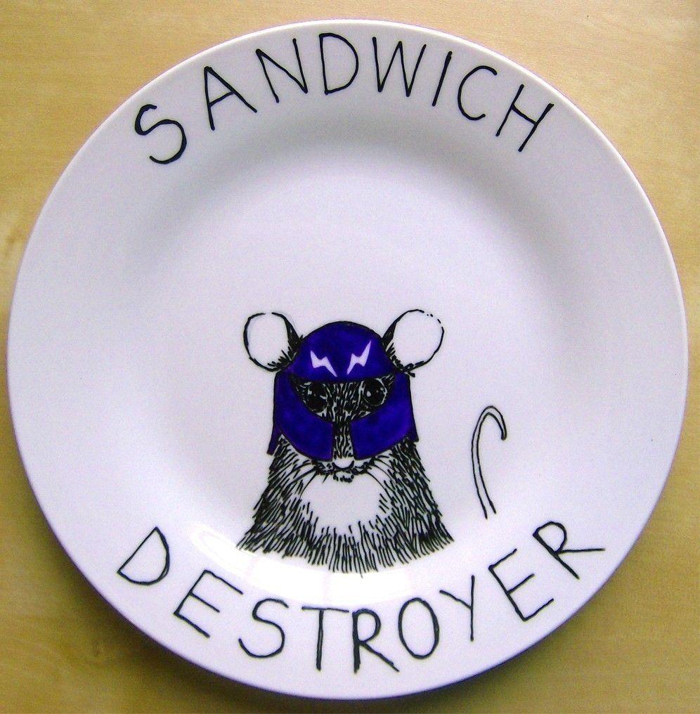Hand Painted Side Plate Sandwich Destroyer por jimbobart en Etsy