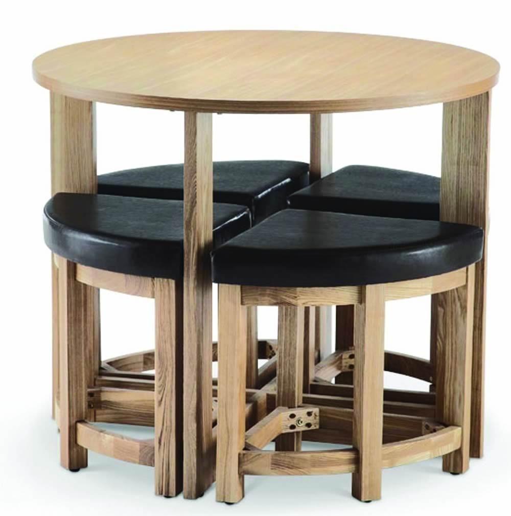 Dinning Table With Stools Underneath Kansas Oak Ash Veneer