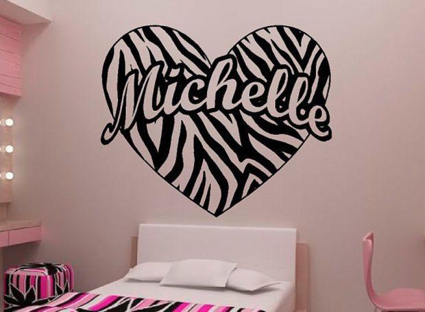 Personalized Zebra Stripe Heart Vinyl Wall Decal Sticker Art 26 W X 22 T Zebra Print Walls Wall Decal Sticker Heart Wall Decal