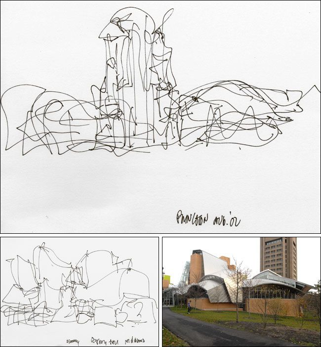 A 2002 Sketch Top By The Architect Frank Gehry For Peter B