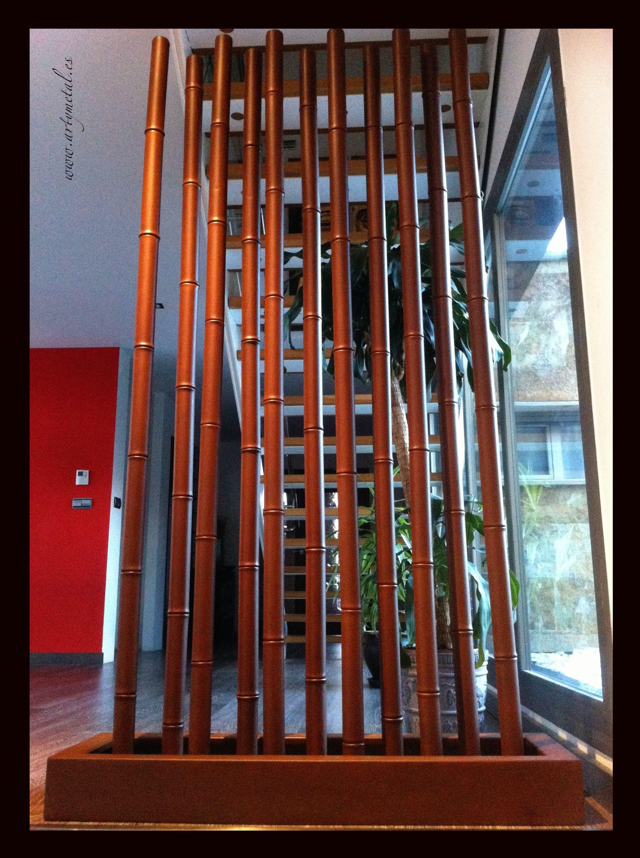 Separador de ambientes en acero corten imitación bambu bamboo
