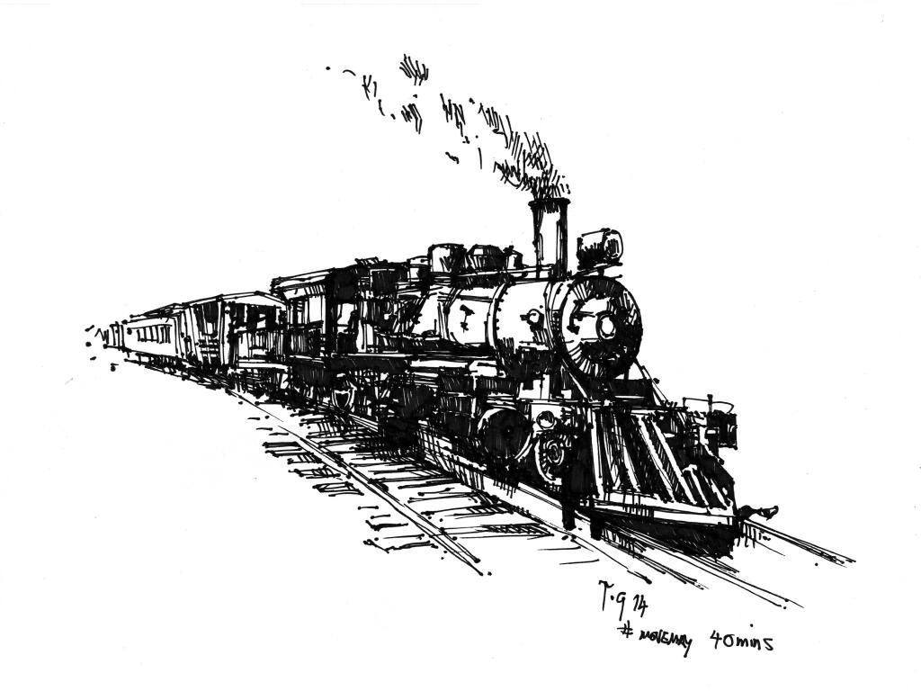 Movemay Thedailysketch 40 Min Ink Sketch Of An Old Steam