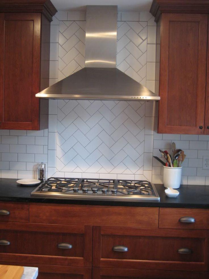 Tile Backsplash Pinterest Subway Kitchen White Pattern Herringbone