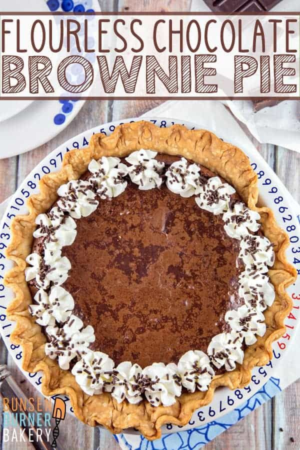 Flourless Chocolate Brownie Pie: chewy edges, gooey middle - the perfect brownie, baked right into