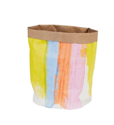 hello yellow - Multi Stripe hand painted Canvas Bucket by Lumiere Art and Co