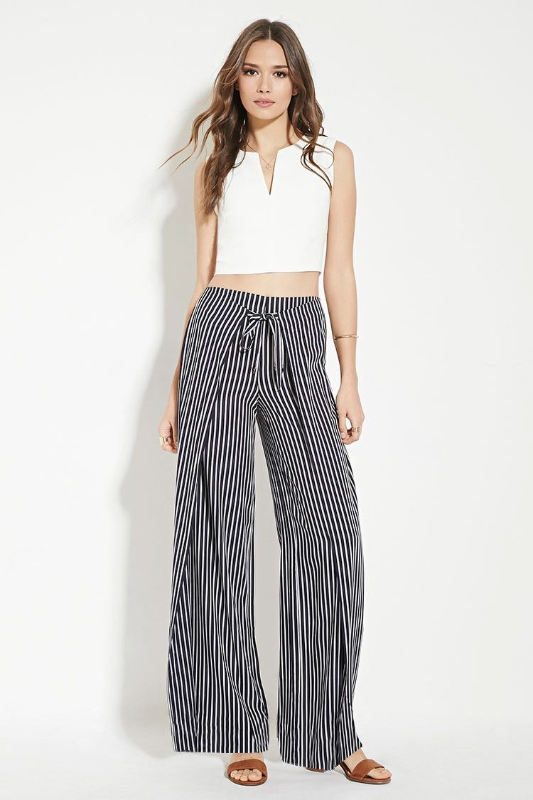 1e6763165da Forever 21 Contemporary - A pair of woven striped pants with a self-tie  layered front and a concealed back zipper.