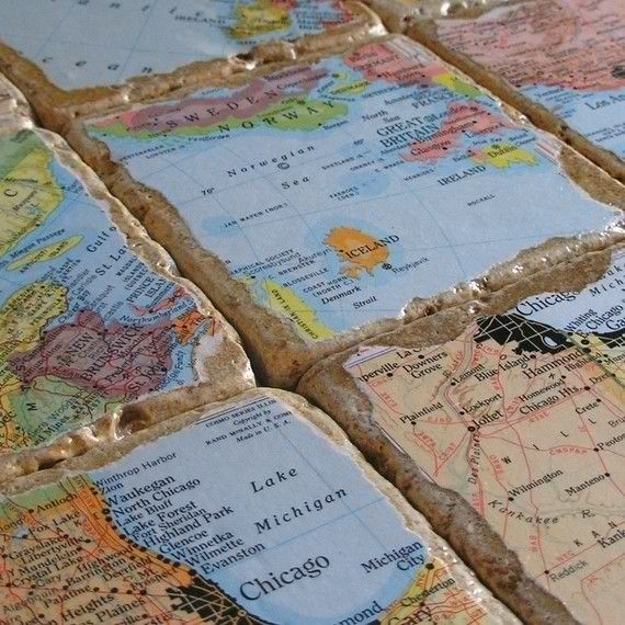 coasters from the places you have traveled buy tiles rip map pieces mod podge glue cork on back or any place the map idea is so cool