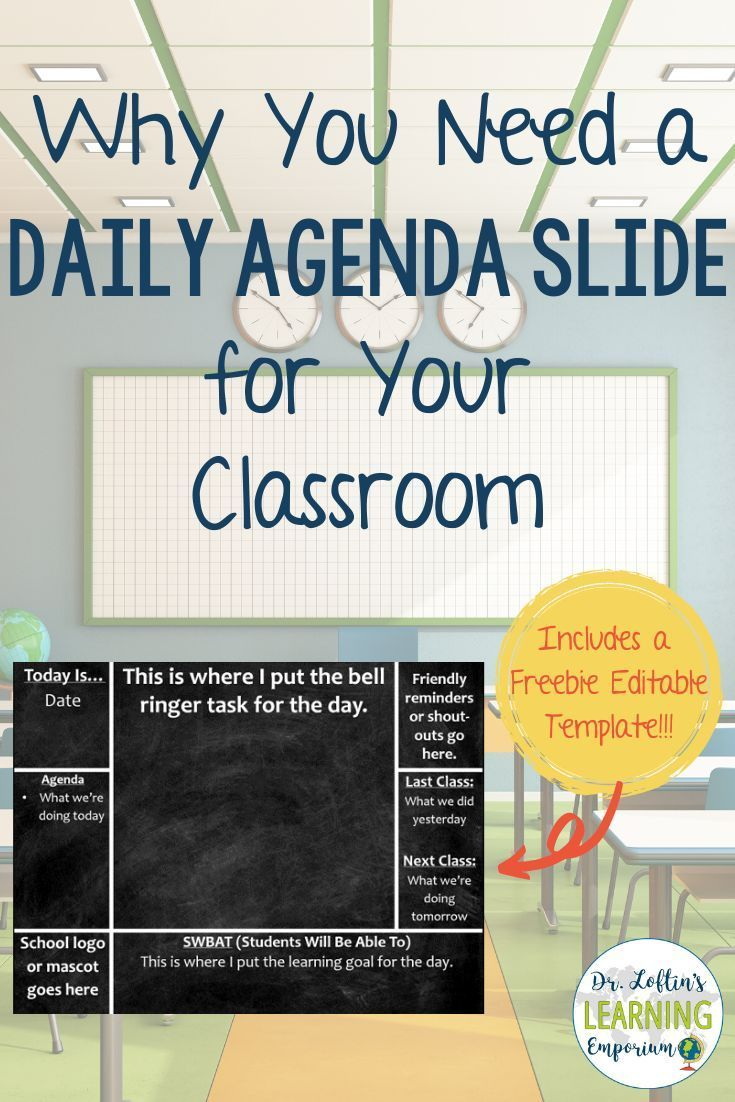 Classroom Management: Why you need a daily agenda slide for your classroom-Includes a Free Editable Template. #ClassroomManagement #ClassroomTips #TeachingTip #Teaching