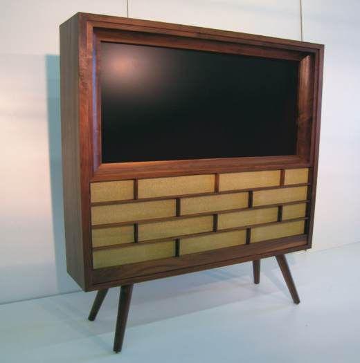 New Plasma Tv In A Retro Look Wooden Case Decorative Room Dividers Modern Room Divider Sliding Room Dividers