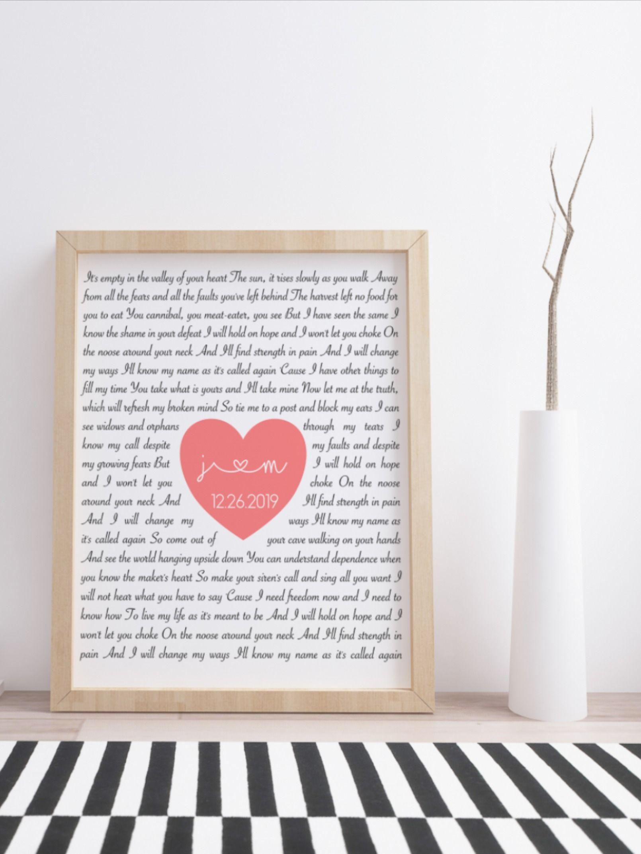 Custom song lyrics printable wall art personalized heart