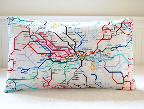 London underground decorative pillow cover tube map cushion cover