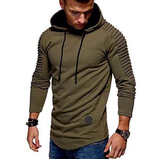 Sports Men/'s Long Sleeve Casual T-shirt Hooded Zip Sweatshirt Slim Gym Solid Top