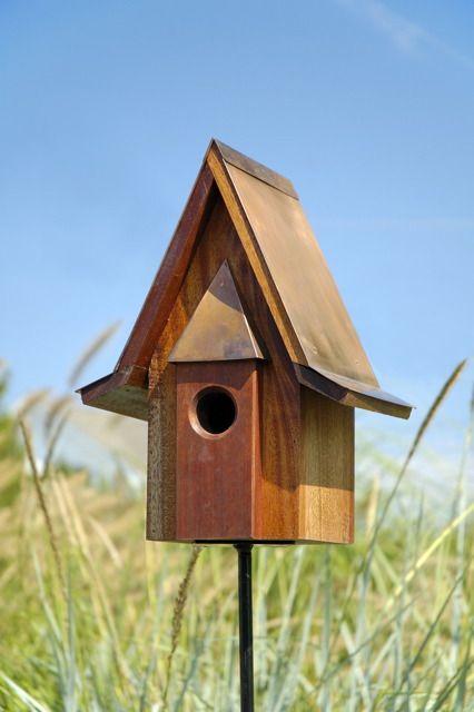 Heartwood Mahogany Chateau Birdhouse With Burnished Copper Roof Decorative Bird Houses Bird House Kits Bird House