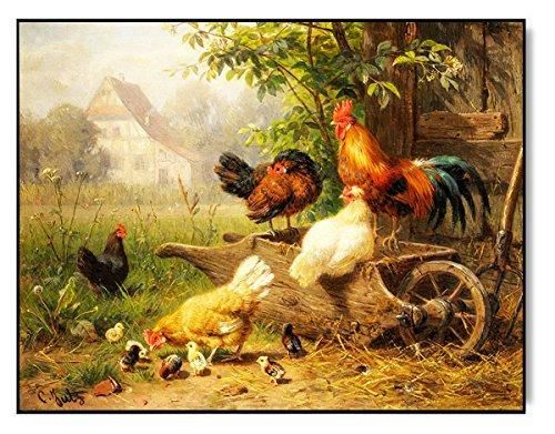 Chicken on Wheelbarrow Picture on Stretched Canvas, Wall Art Décor ...