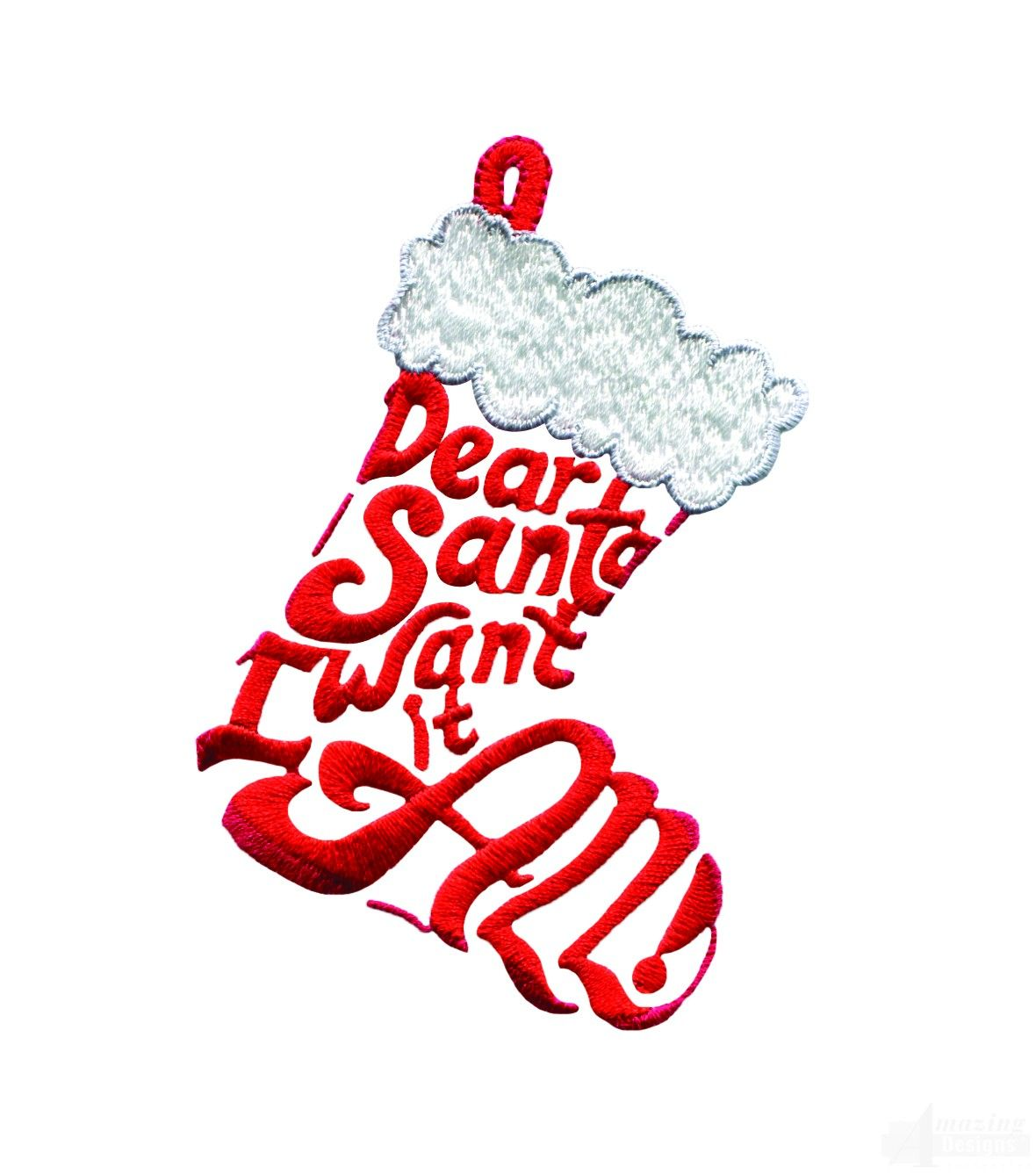 CHRISTMAS STOCKING, DEAR SANTA I WANT IT ALL, CLIP ART